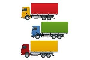 Flat trucks set isolated realistic
