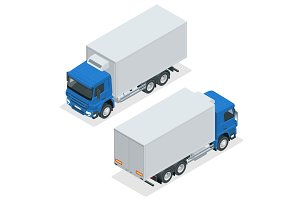 Isometric Truck Delivery, lorry mock