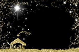 Elegant Nativity Scene greeting card