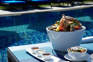 asian food on pool background
