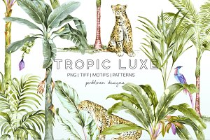 Tropic Luxe, Watercolor luxury Print