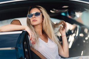 Portrait of blonde in sunglasses