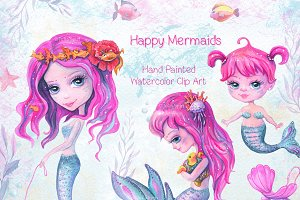 Watercolor Mermaids Clip Art
