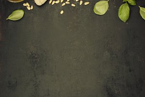 Ingredients for italian pesto sauce