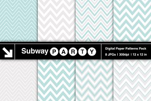 Aqua Blue & Gray Chevron Papers