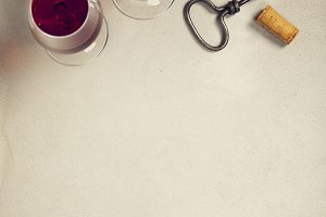 Wine over grey marble background