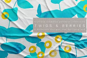 Berries & Twigs. Patterns collection
