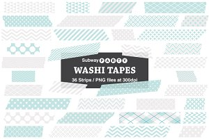Aqua Blue & Gray Washi Tape Strips