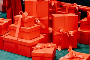 Red gift boxes for New Year