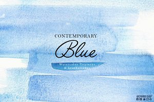 Contemporary Blue Watercolor