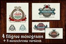 4 Filigree Monograms. EPS