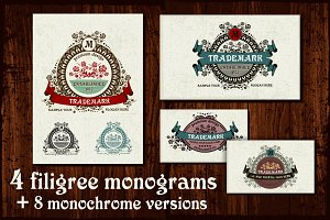 4 Filigree Monograms. EPS
