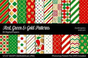 Red, Green & Gold Digital Papers