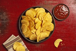 Mexican nachos chips with salsa sauc