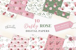 Rose Pink Seamless Patterns Leaf Set
