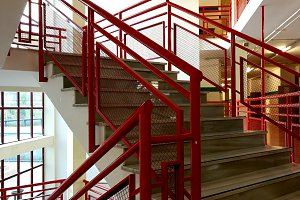 interior staircase with metal