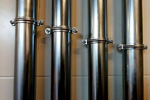 stainless steel pipes attached