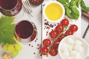 Italian antipasti snack for wine