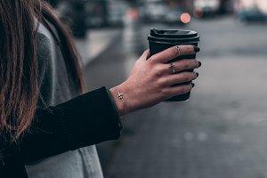 Woman hand hold black coffee