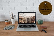 6 Mockups - Macbook workspace
