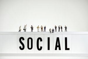 Crowd of miniature people. Social ga