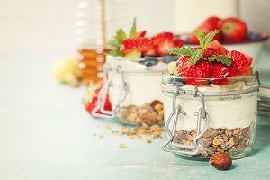 Healthy breakfast. Homemade yogurt p