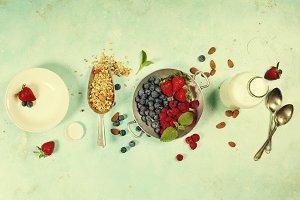 Healthy Breakfast set with granola,