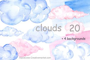 Clouds Watercolor clipart
