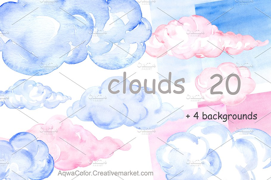 Clouds watercolor. Clipart