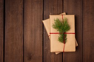 Holiday gifts wrapped with eco