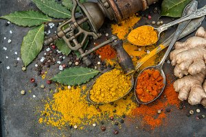 Spices curry turmeric ginger bay lea