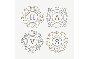 Set of monogram logo template with