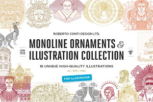 Monoline illustration collection