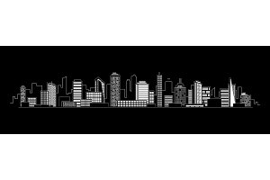 Vector city silhouette icon with