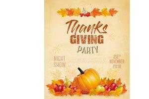 Happy Thanksgiving Flyer. Vector