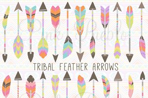 Tribal Feather Arrow Clipart Vectors