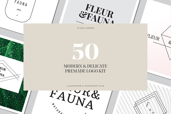 Logo Templates - 50 Modern Delicate Logos Brand Kit