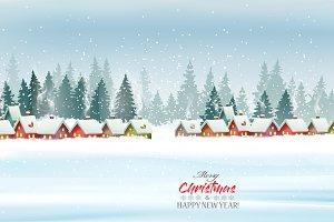 Holiday Christmas panorama. Vector