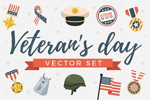 Veterans Day Patriots USA Vector Set