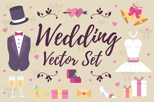 Wedding Elements Vector Set