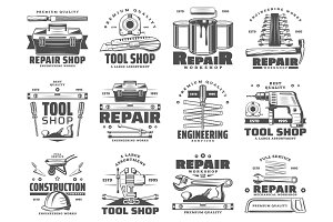 Repair, service and work tools icons