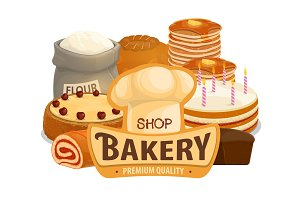 Bakery shop cakes, pastry products