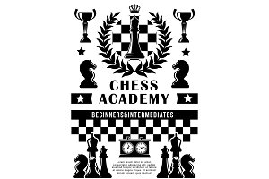 Chess academy, sport game vector