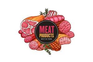 Butcher shop farm meat, vector