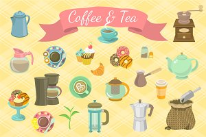 Coffee and Tea Icons and Patterns