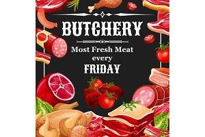 Butcher shop farm meat products