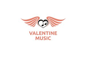 Music, Wings and Love logo design
