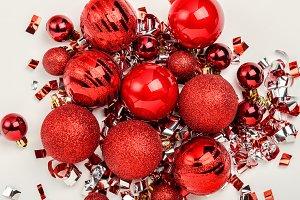 Shiny red christmas balls