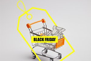 close up view of shopping cart with