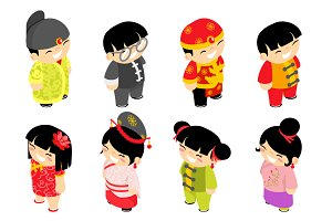 Cute isometric chinese children